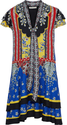 Alice + Olivia Moore Tie-neck Tiered Printed Crepe Mini Dress