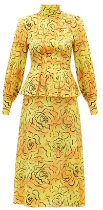 Alessandra Rich Crystal-embellished Silk-crepe De Chine Midi Dress - Yellow