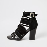 River Island Black leather strappy heeled sandals
