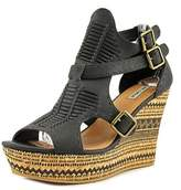Not Rated Traflgarsquare Open Toe Canvas Wedge Sandal.