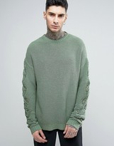 Asos Super Slouchy Sweater with Textured Sleeves