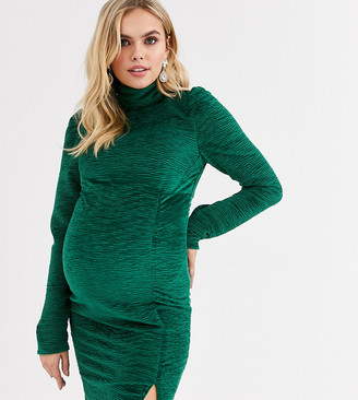 Fashion Union Maternity high neck velvet bodycon in green velvet
