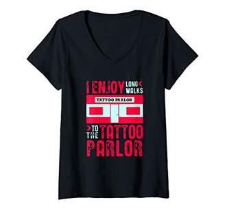 Womens Tattoo Shirt Enjoy Long Walks to Tattoo Parlor Tattooist V-Neck T-Shirt
