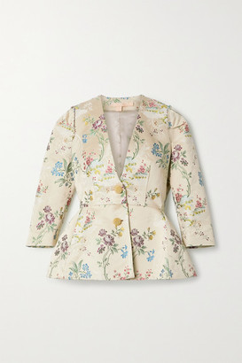 Brock Collection Cotton And Silk-blend Floral Brocade Jacket - Light green