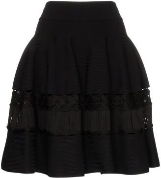 Alexander McQueen High-Waisted Macrame-Panelled Skirt