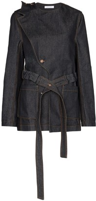 Delada Asymmetric Belted Denim Jacket