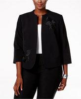 Nine West Plus Size Taylor Floral-Applique Blazer