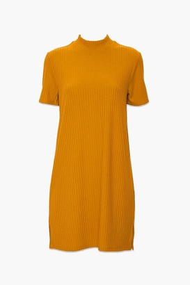 Forever 21 Ribbed Mock Neck T-Shirt Dress