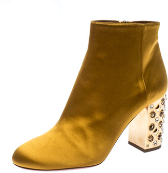 Aquazzura Yellow Satin Party Embellished Block Heel Ankle Booties Size 39