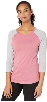 Pact Organic Cotton Featherweight Raglan Tee (Rosewood/Heather Grey) Women's Clothing