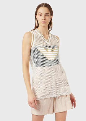 Emporio Armani Oversized, Perforated-Jersey Tank Top With Eagle Patch