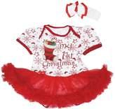 Petitebella My 1st Christmas Xmas Sock Baby Dress Snowflake Bodysuit Tutu Romper Nb-18m