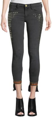 Etienne Marcel Studded Step-Hem Skinny Jeans with Trim