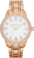 Liz Claiborne Womens Rose-Tone Crystal Large-Scale Watch