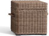 Pottery Barn Torrey All-Weather Wicker Accent Cube - Natural