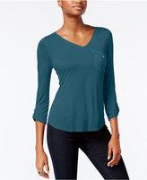 Calvin Klein Jeans Mixed-Media V-Neck Top