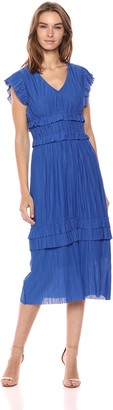 Taylor Dresses Women's Pleated Short Sleeve Midi Dress