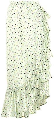 ATTICO Floral-printed silk skirt