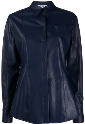 MSGM Long-Sleeved Faux Leather Shirt