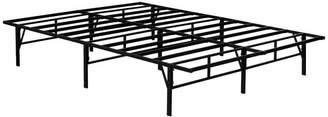Pilaster Designs Chara Metal Platform Slatted Bed Frame, Black, Queen