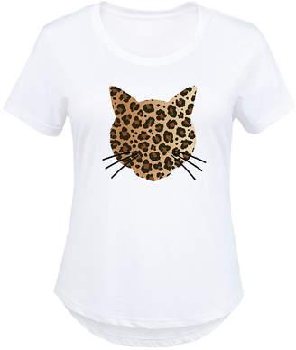 Instant Message Plus Women's Tee Shirts WHITE - White Leopard-Print Cat Face Scoop Neck Tee - Plus