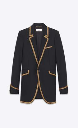 Saint Laurent Blazer Jacket Chevron Jacket With Gold Braid Black 10