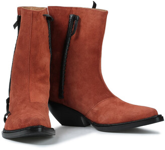 Acne Studios Breanna Leather-trimmed Suede Ankle Boots