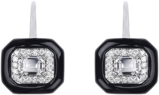Nikos Koulis 18k White Gold Oui Emerald-Cut Diamond Drop Earrings