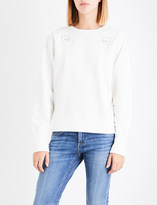 Rag & Bone Floral eyelet-detail cotton-jersey sweatshirt