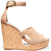 Jimmy Choo Neyo Suede Wedge Sandals - Beige