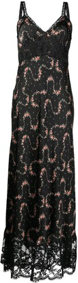 Paco Rabanne Flower Garland satin maxi dress