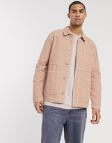 Asos Design DESIGN denim jacket in tan with contrast stitch