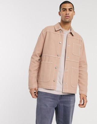 ASOS DESIGN denim jacket in tan with contrast stitch