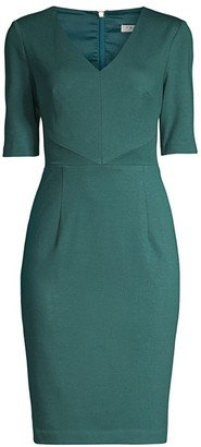 Trina Turk Eastern Luxe Locale Elbow-Sleeve Sheath Dress