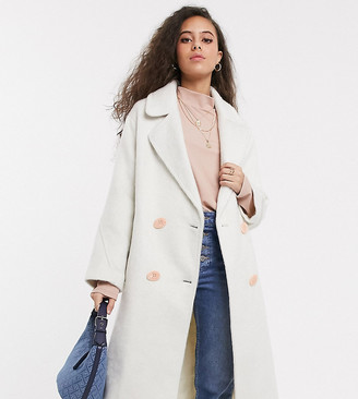 ASOS DESIGN Petite brushed statement button coat with hero buttons in white