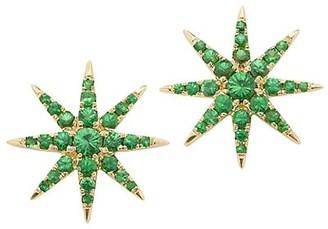 Robinson Pelham Tsar Star 14K Yellow Gold, Diamond & Tsavorite Stud Earrings