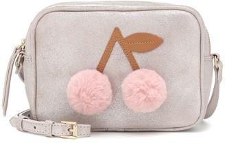 Bonpoint Faux fur-trimmed leather shoulder bag