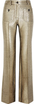 Roberto Cavalli Wool-blend Lamé Flared Pants - Gold
