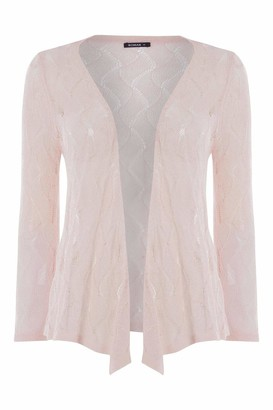 Roman Originals Women Textured Pointelle Shrug - Ladies Drop Needle Open/Tie Front Cropped Cardigan Lace Embellished Casual Summer Classic Cover Up Knitwear Cardie - Pink - Size 12