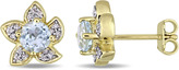 Laura Ashley 1 1/6 CT TW Topaz and Diamond Yellow-Plated Silver Flower Stud Earrings