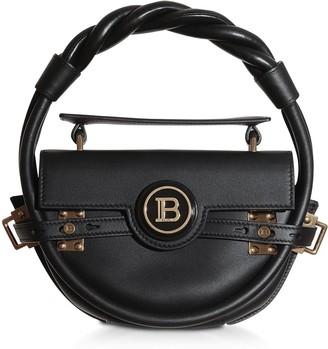 Balmain Black Leather Bbuzz Circle 21 Top Handle Bag