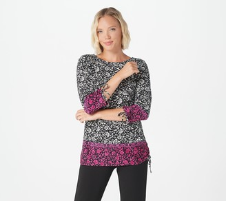 Linea by Louis Dell'Olio Printed Knit Top with Tie Details