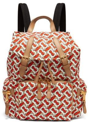 Burberry Tb-print Leather-trimmed Backpack - Womens - Orange Multi