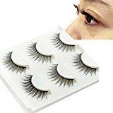 Start 3 Pair Natural Make Up Soft Dense False Eyelashes Black Eye Lashes (G)