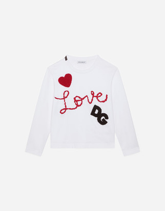 Dolce & Gabbana Long-Sleeved Jersey T-Shirt With Love Embroidery