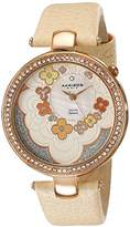 Akribos XXIV Women's AK601RG Lady Diamond Flower Dial Swiss Quartz Leather Strap Watch