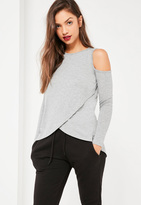 Missguided Grey Cold Shoulder Wrap Front Tunic