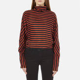 McQ Women's Striped Turtleneck Top Black/Orange Stripes