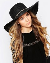 Aldo Floppy Straw Hat with Metal Charm Detail