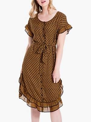 Max Studio Frill Sleeve Geo Print Dress, Black/Golden Yellow